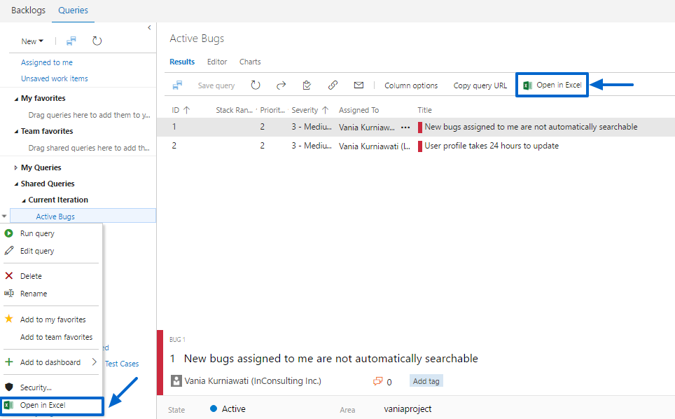 Azure DevOps Open in Excel - Visual Studio Marketplace
